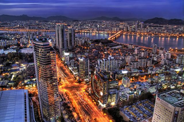 Корея в ночи